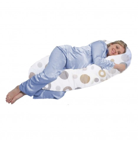 4baby Deluxe 9ft Cuddle Me Body & Baby Support Pillow - Grey Bubbles